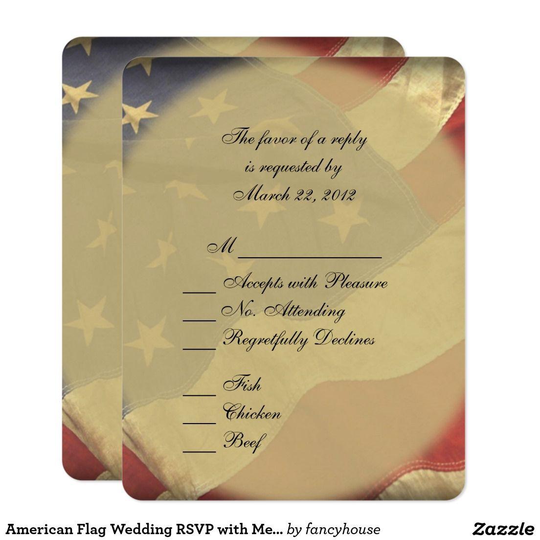 American Flag Wedding RSVP With Menu Choices