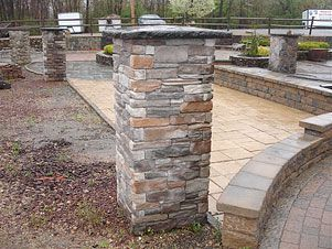 Pre built stone pillars or piers driveway columns for Ready made driveway gates