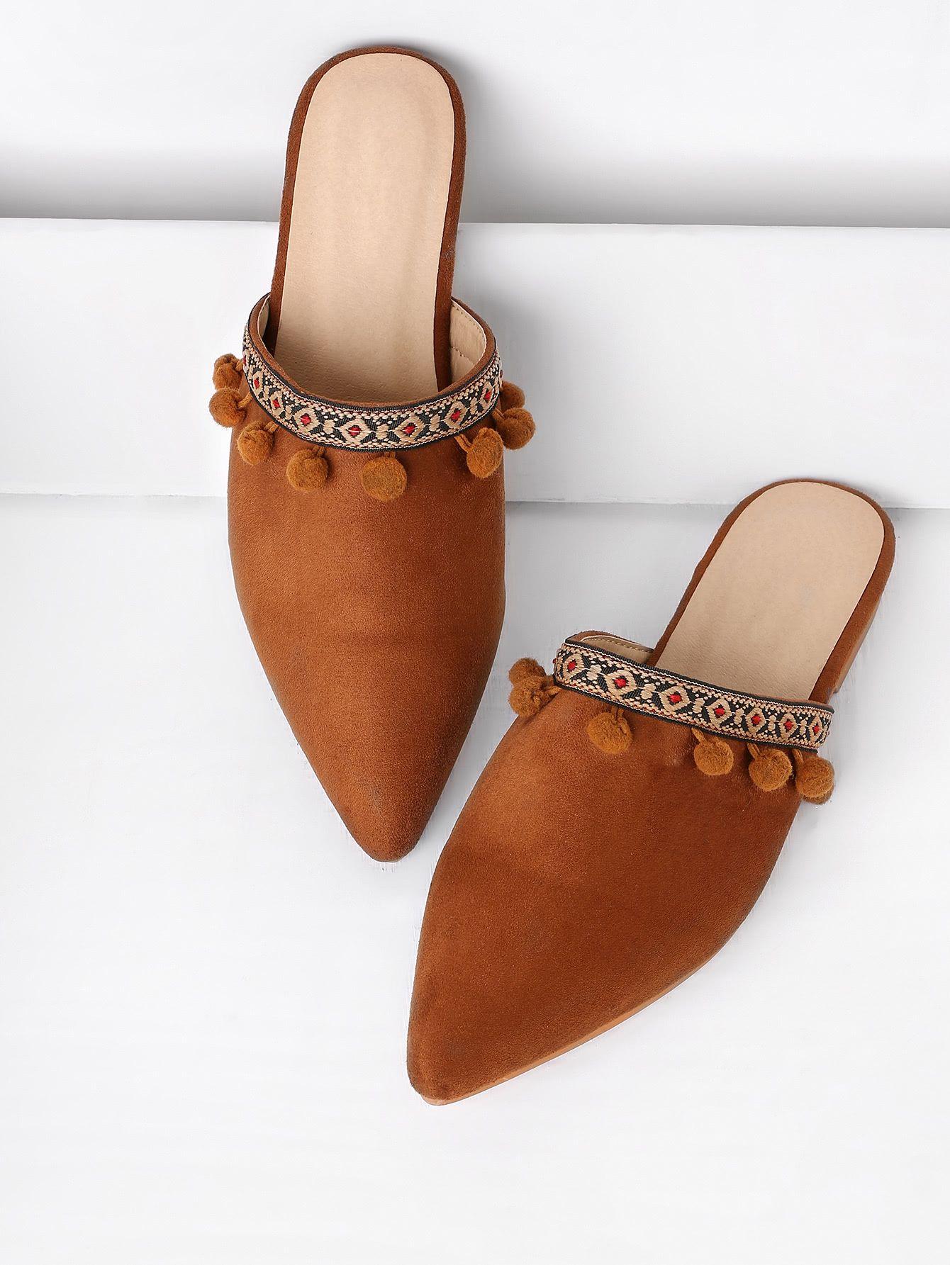 Shop Pom Pom Detail Point Toe Flat Slippers Online Shein