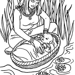 Moses, Moses Found Safely In River Of Nile Coloring Page ...