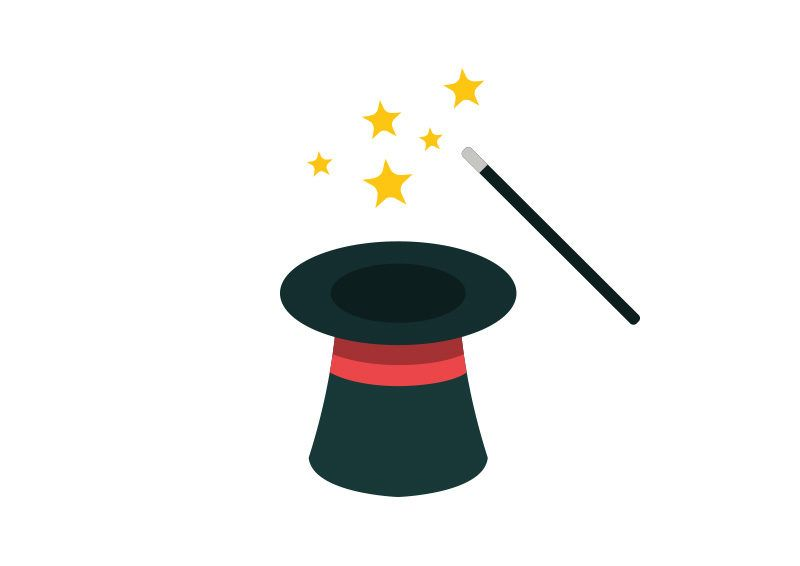 64ce24d15ebbf8 Magic Hat and Wand Flat Vector Icon | מגמה in 2019 | Magic hat, Hat ...