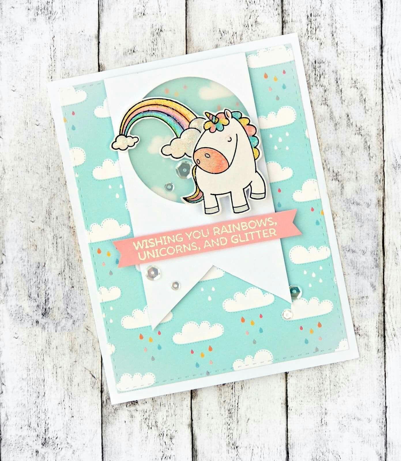 pinstasia sloma on rainbow projects  unicorn card