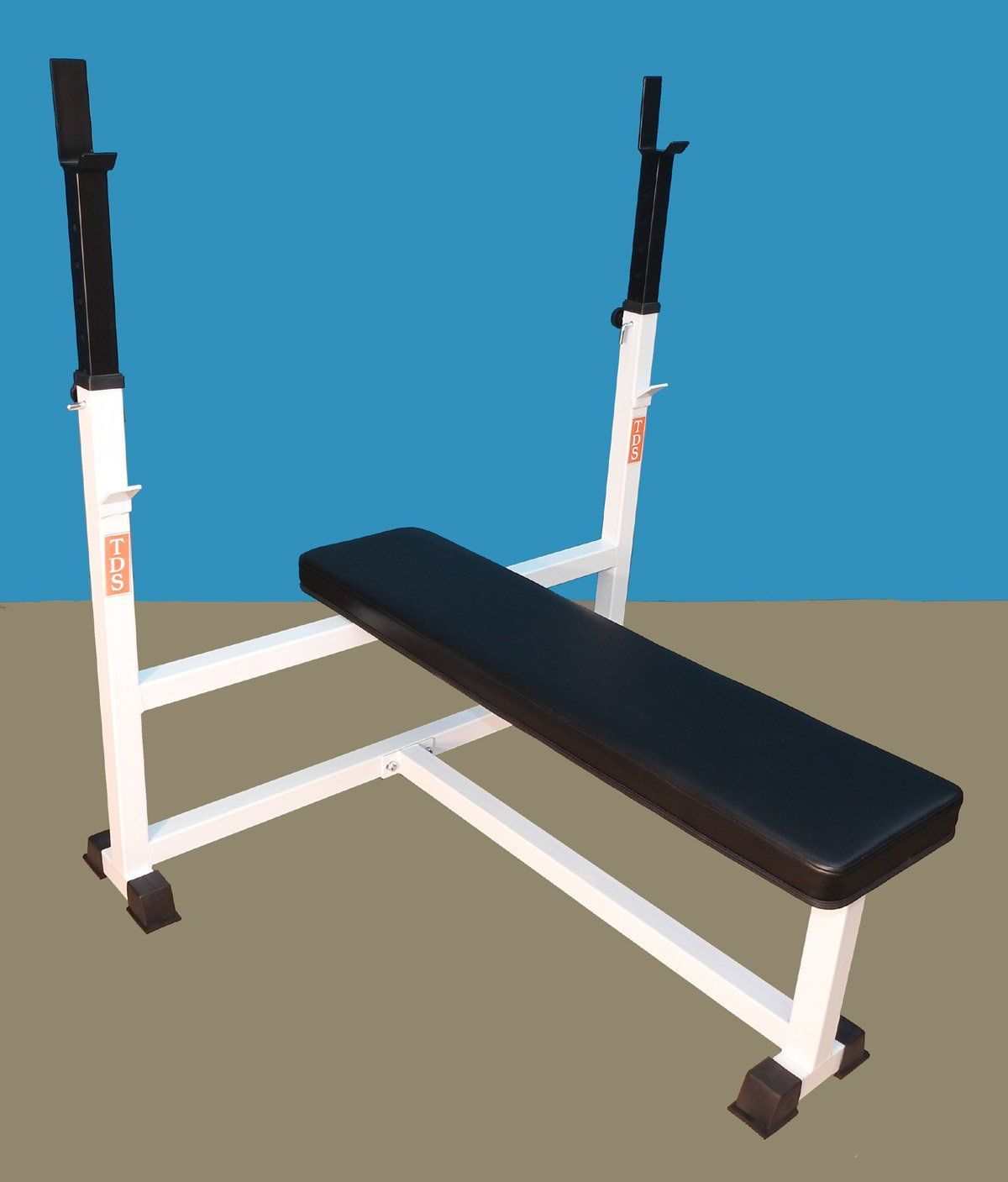 Tds Mega Flat Bench Adjustable Uprights 3 Thick Commercial Quality Padding 1000 Lb Capacity Olympic Bar Shown For Information Bench Sport Fitness Olympics