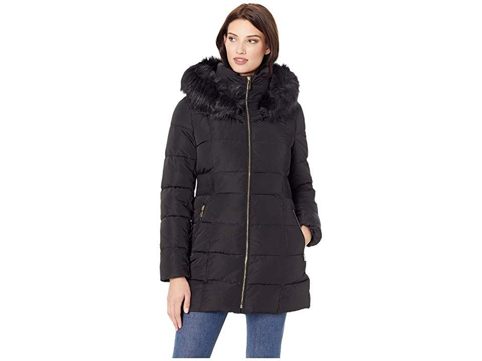 c995322284b6 Ivanka Trump Puffer Jacket with Detachable Fur Hood and Waist Detail  (Black) Women s Coat