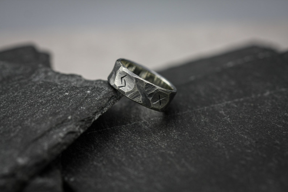 Viking rune ring, Sterling silver band, personalised ring