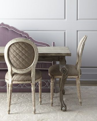 """""""Liday"""" Dining Table, """"Blanchett"""" Chairs, & """"Klein Napa\' Banquette by Haute House at Horchow."""