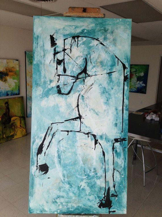 MUY grande Original, lienzo, arte, pintura, arte abstracto Título: Caballo Resumen Tamaño: 60x30x1.5 pulgadas Acrílico sobre lienzo firmado en la parte