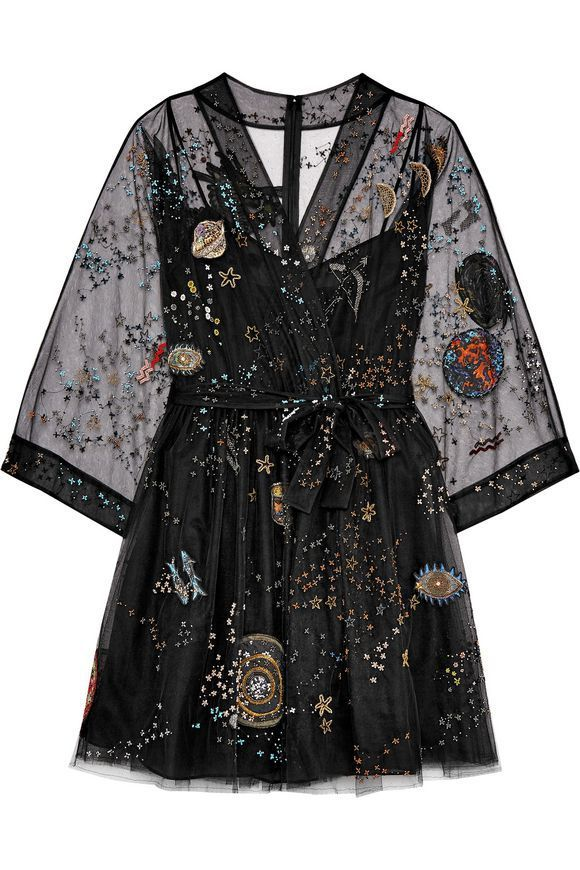 Black Metallic embellished silk-blend tulle mini wrap dress | Sale up to 70% off | THE OUTNET | VALENTINO #facecare