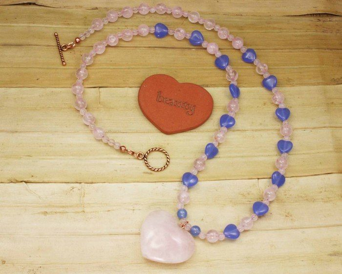 Necklace - Rose Quartz Heart and Serenity Blue Hearts on Copper (25 inches)