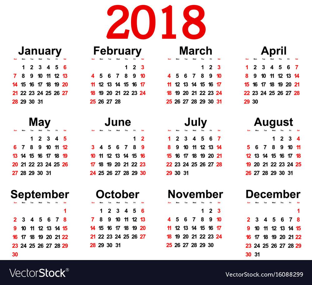 Free wall calendar 2018