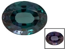 Indian Alexandrite Color Change 1.28ct 7.57x5.63x3.57mm Oval G.I.A. Certification