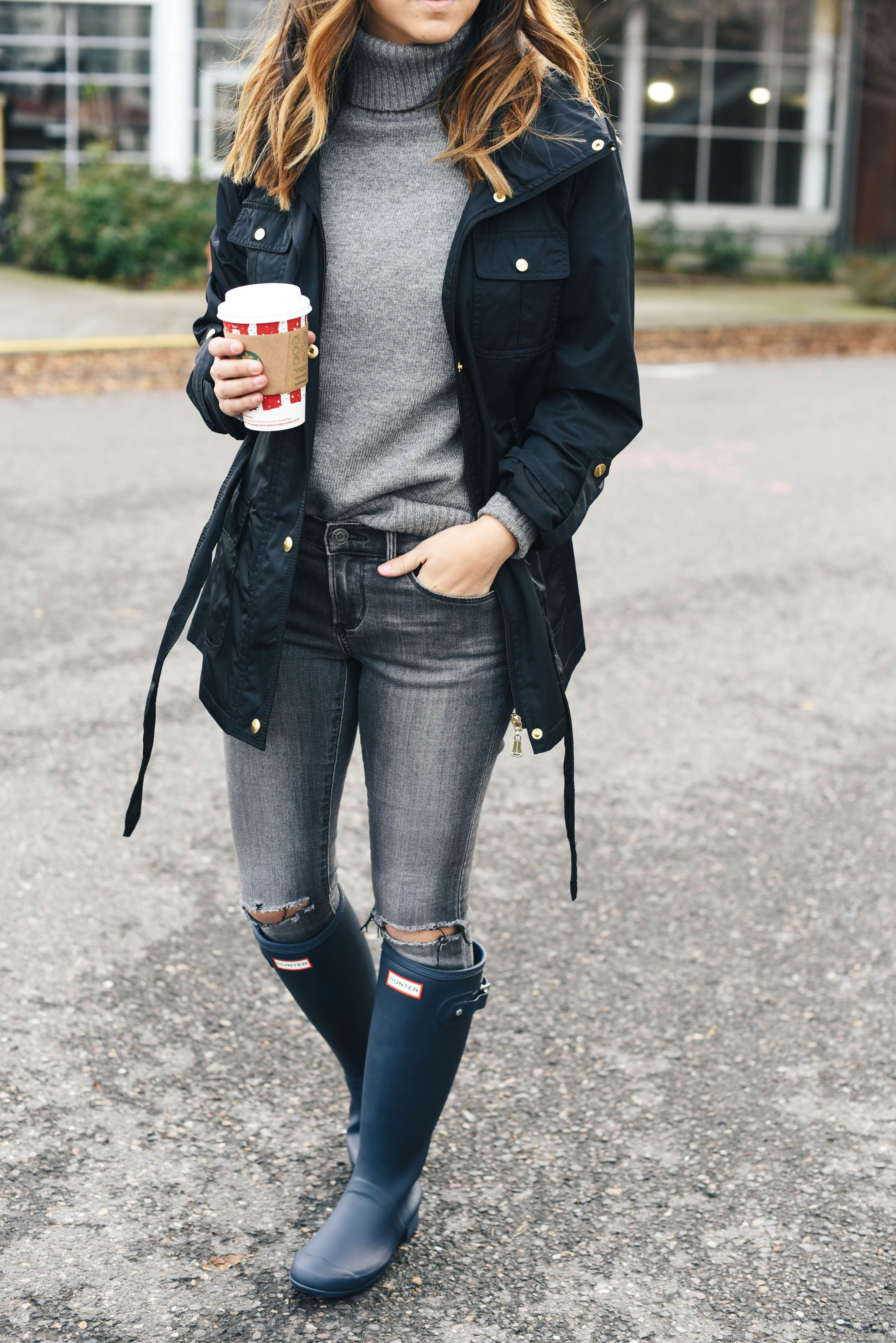 5bf0ced623c5 Ripped jeans beautiful grey sweater   casual in style rain boots.
