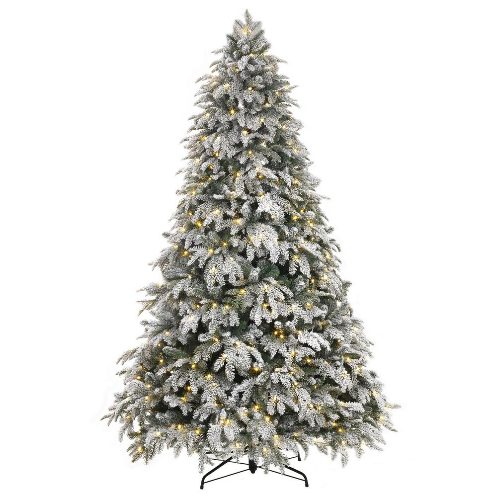 Home Accents Holiday 7 5 Ft Pre Lit Led Flocked Mixed Pine Artificial Christmas Flocked Christmas Trees Artificial Christmas Tree Christmas Tree Clear Lights