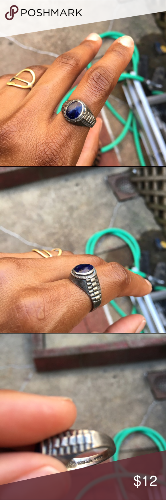 VINTAGE || Sterling Silver w/ Lapis Stone Ring Sz6 VINTAGE || .925 Sterling Silver w/ Lapis Stone Ring Sz6 Needs Polishing. Sized measured by local jeweler Vintage Jewelry Rings