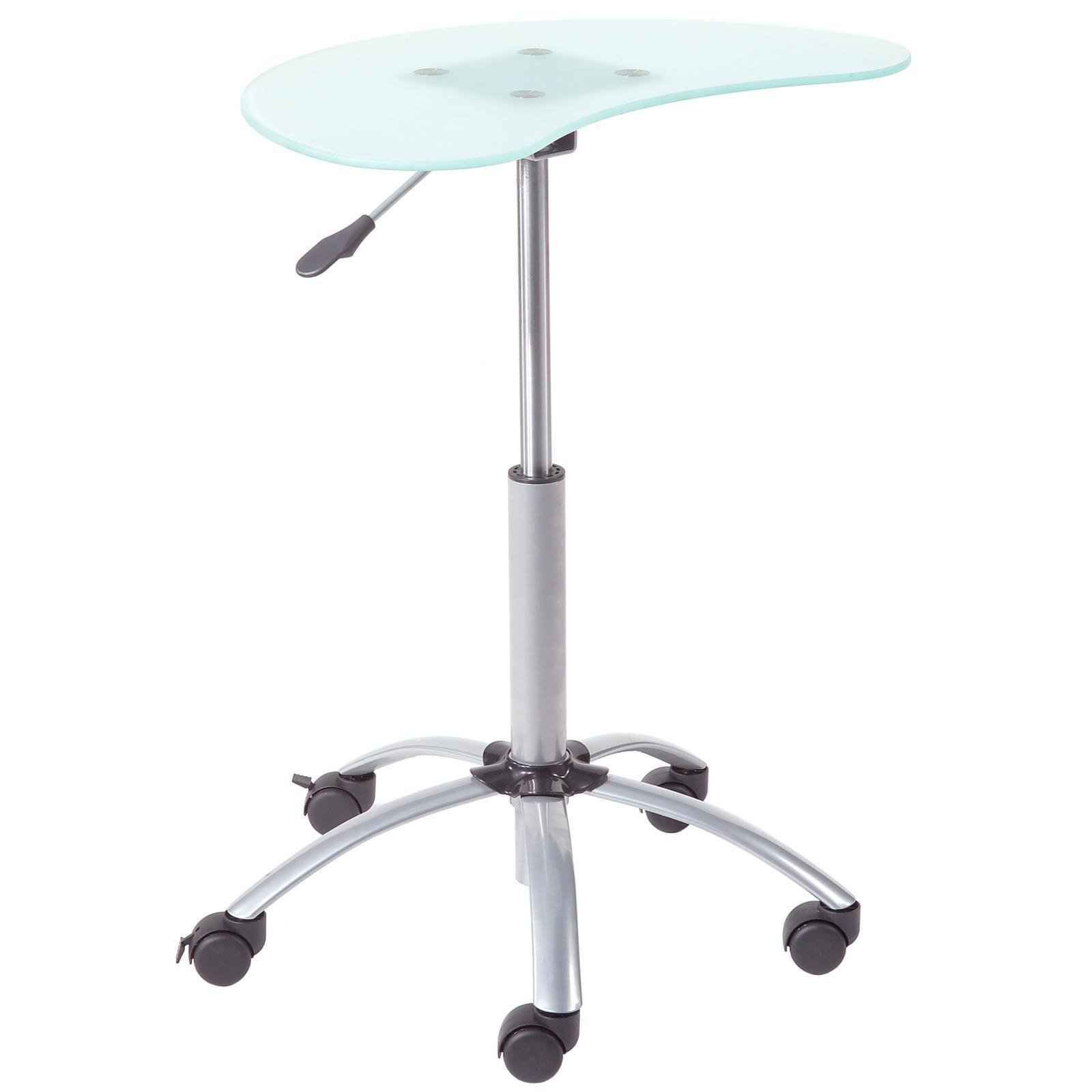 Euro Style Malcom Glass Top Laptop Stand With Wheels Laptop Stand Laptop Desk Stand Computer Stand