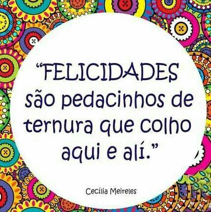 Felicidade são pedacinhos de ternura que colho aqui e alí. - Cecilia Meireles #citações #happiness