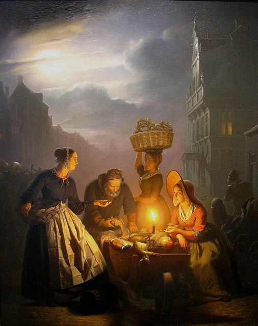 §§§ : A Market Scene in Bruxelles by Moonlight : Petrus van Schendel : 1806-1870