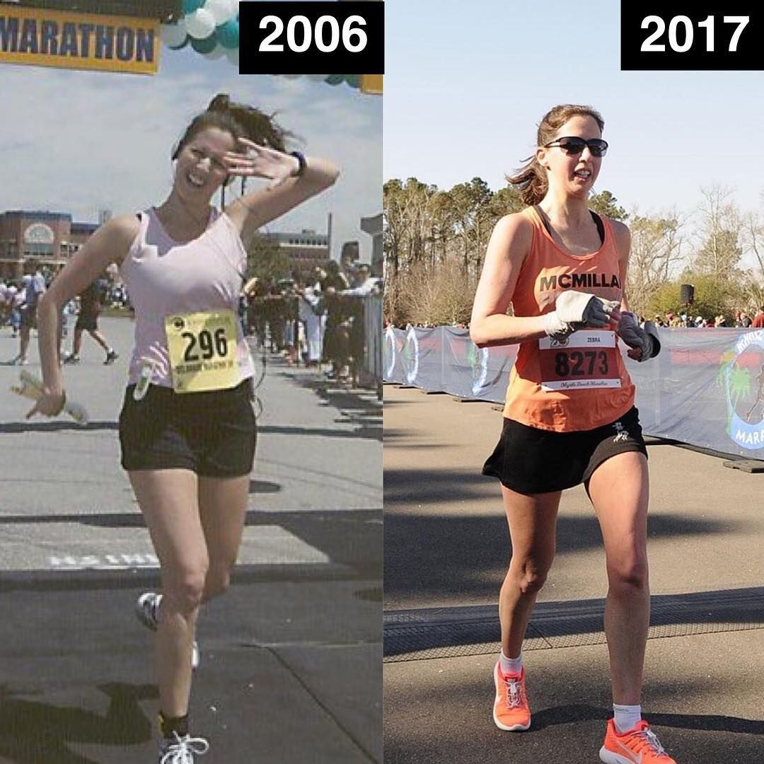 The Marathon: From 4:46 to 3:21. - I ran my first half marathon in 2006 (pictured) in Delaware. My goal was simply to finish using the Galloway run/walk method. My hip started hurting early in the race but I still managed to run most of the way in 4:46. - Breaking 4:00 I fell in love with marathons and I started running them every 4-5 months: Marine Corps in 4:24 Miami in 4:13 New Jersey in 4:05. By the fall of 2007 I decided I wanted to break 4:00 and I did so at the Richmond marathon in 3:56. I used the same training plan for each of these races which was running 5-7 miles on the weekdays and a long run on the weekend. No speed work but I ran all my runs at Marathon pace! - Breaking 3:50 This took me a long time. It wasnt until SIX years later that I broke 3:50. In 2013 I ran 3:48 at the small B&A Marathon and another 3:48 in Chicago. These years were plagued with bad racing weather injuries and race anxiety. The 3:48 was a real breakthrough. - Breaking 3:40 I started working with a coach in 2014 and finally had a nice string of PRs: 3:43 3:40 and 3:35. I ran the 3:35 two years after my first 3:48 at the same marathon and I was so happy to finally have qualified for Boston. - Breaking 3:30 In 2016 while training for Boston my fitness leaped way ahead of where I thought it could go. I tried breaking 3:30 in Boston but it was really hot so I really struggled and ended up hitting a huge wall. Then I got sick for 12 weeks over the summer. By the time I ran my next marathon in March 2017 I was ready to not only break 3:30 but maybe 3:20 at the same time. I ran 3:21 and was so happy about that! - Breaking 3:20 With just two minutes to shave off I thought sub-3:20 would be very possible at Boston 2018. However I backed off that goal when the forecast came out. I ran 3:26 which was great for those conditions leaving me confident that I can break 3:20 in my next marathon.