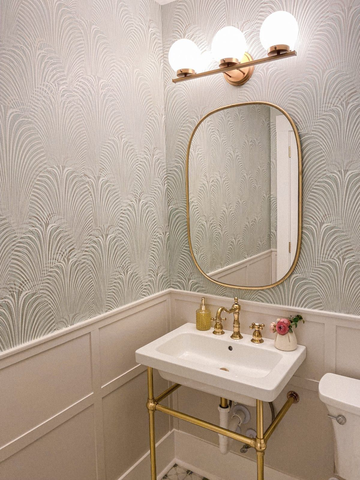 Our Patterned Tile And Wallpaper Half Bath Reveal Beautiful Bathroom Decor Bath Inspiration Cool Light Fixtures