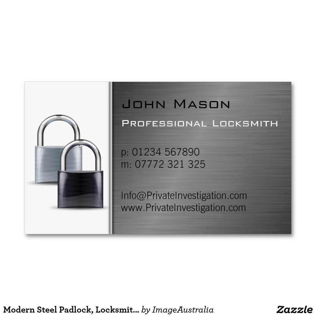 Modern Steel Padlock, Locksmith Business Card | Business cards ...
