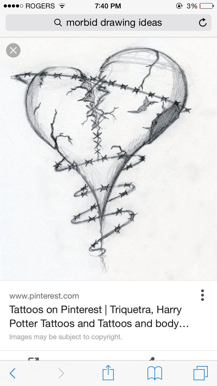Outstanding How To Draw A Bleeding Heart With Barbed Wire Step By ...