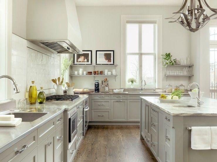 Best Two Tone White Gray Kitchen Floating Shelves Gray 640 x 480
