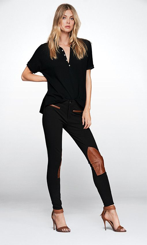 A streamlined take on the equestrian jodhpur, this stretch twill version is  detailed with luxe leather trim. Find these Womens Pants at Ralph Lauren