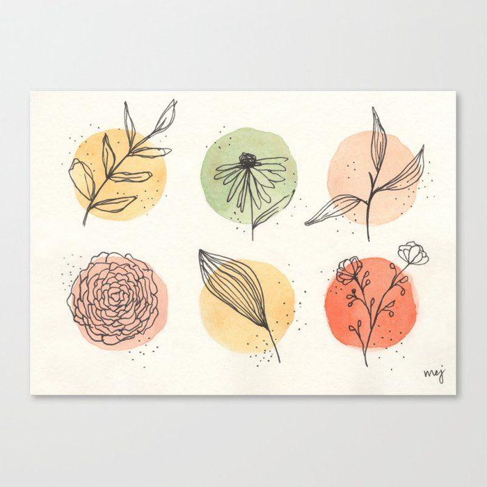 Warm Neutral Florals Canvas Print by Muse By Mej - Medium