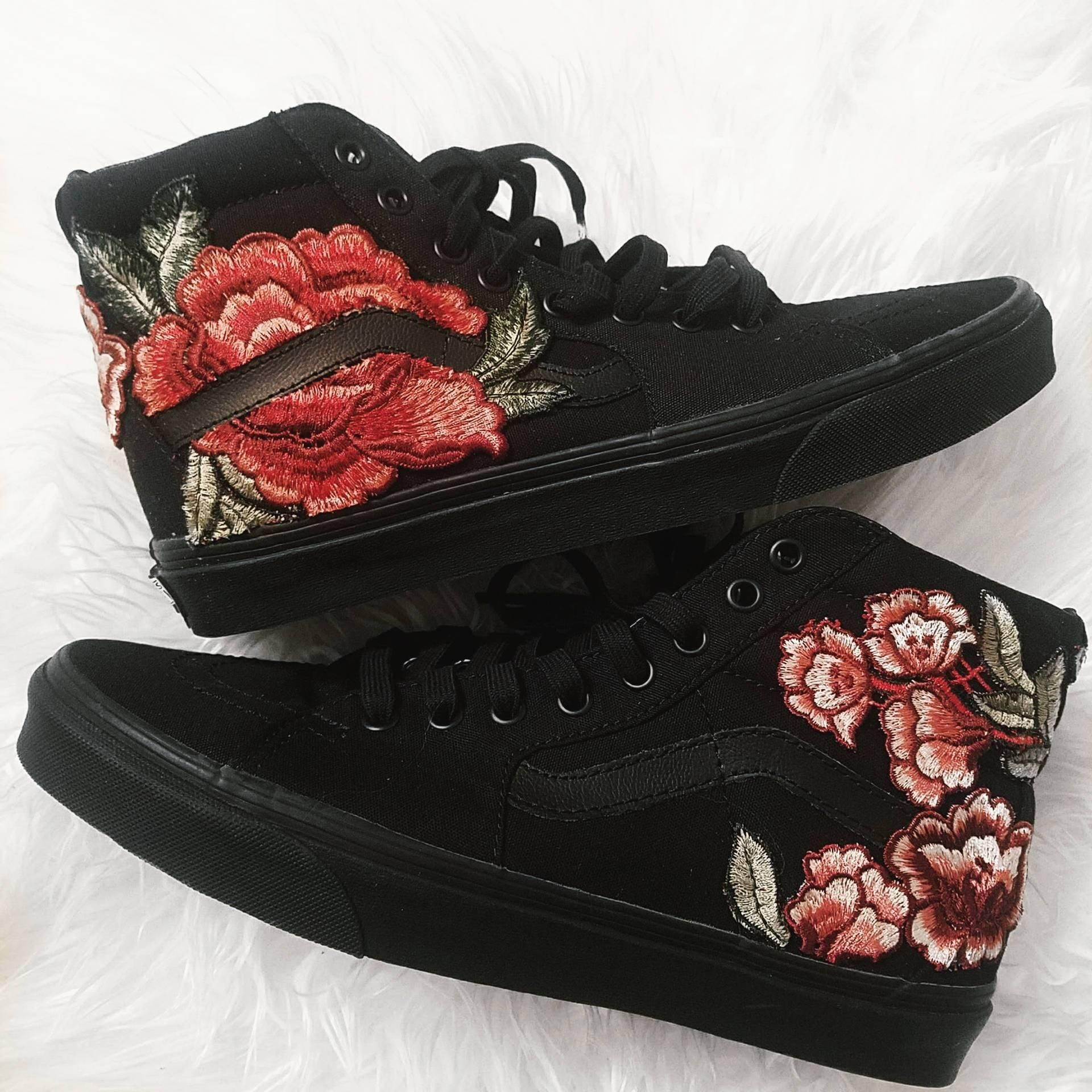 418ac2745201 Unisex Black on Black Custom Rose Floral Embroidered Patch Vans Sk8 ...