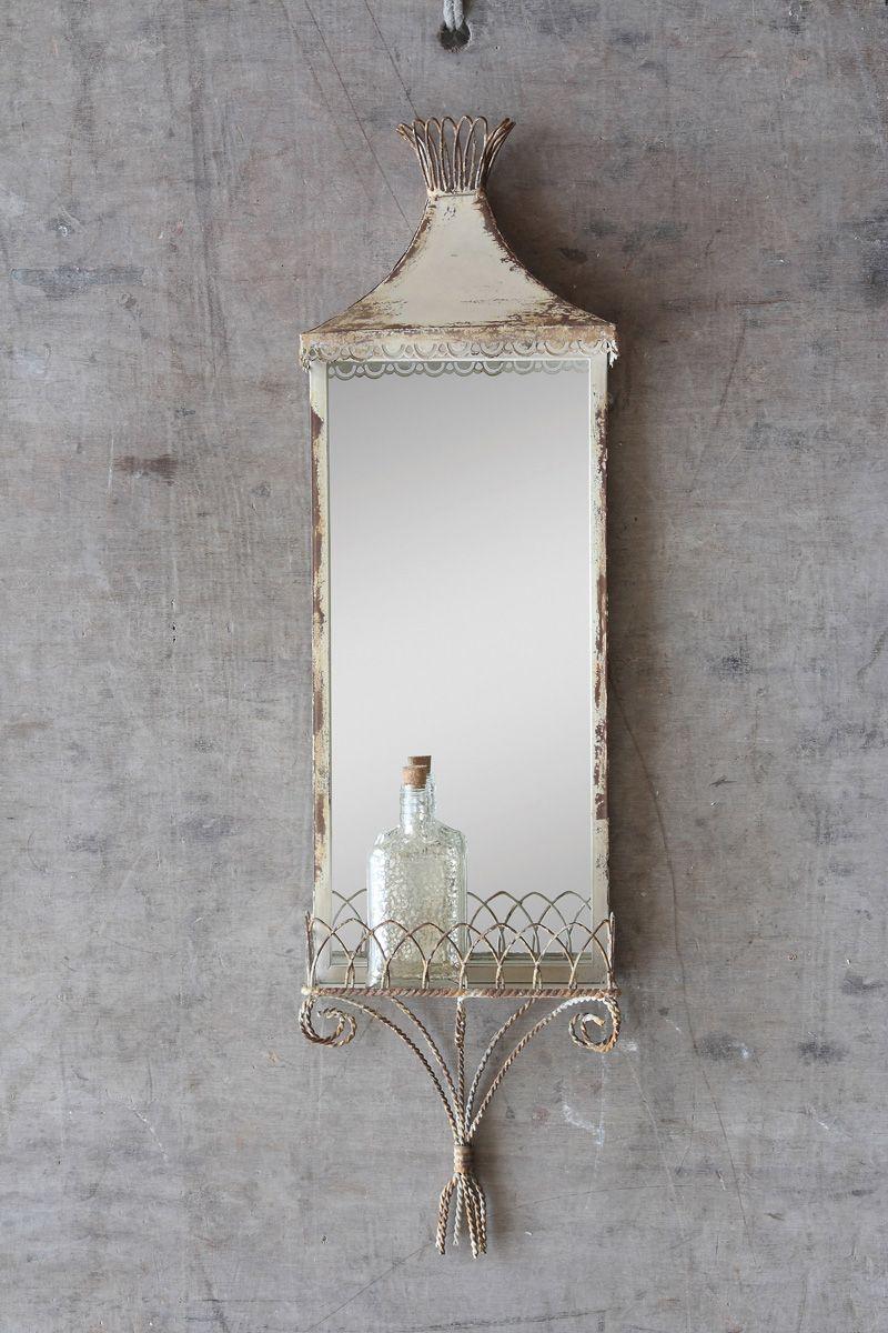 Antique White Cottage Shelf with Mirror, Cream Metal Shelf