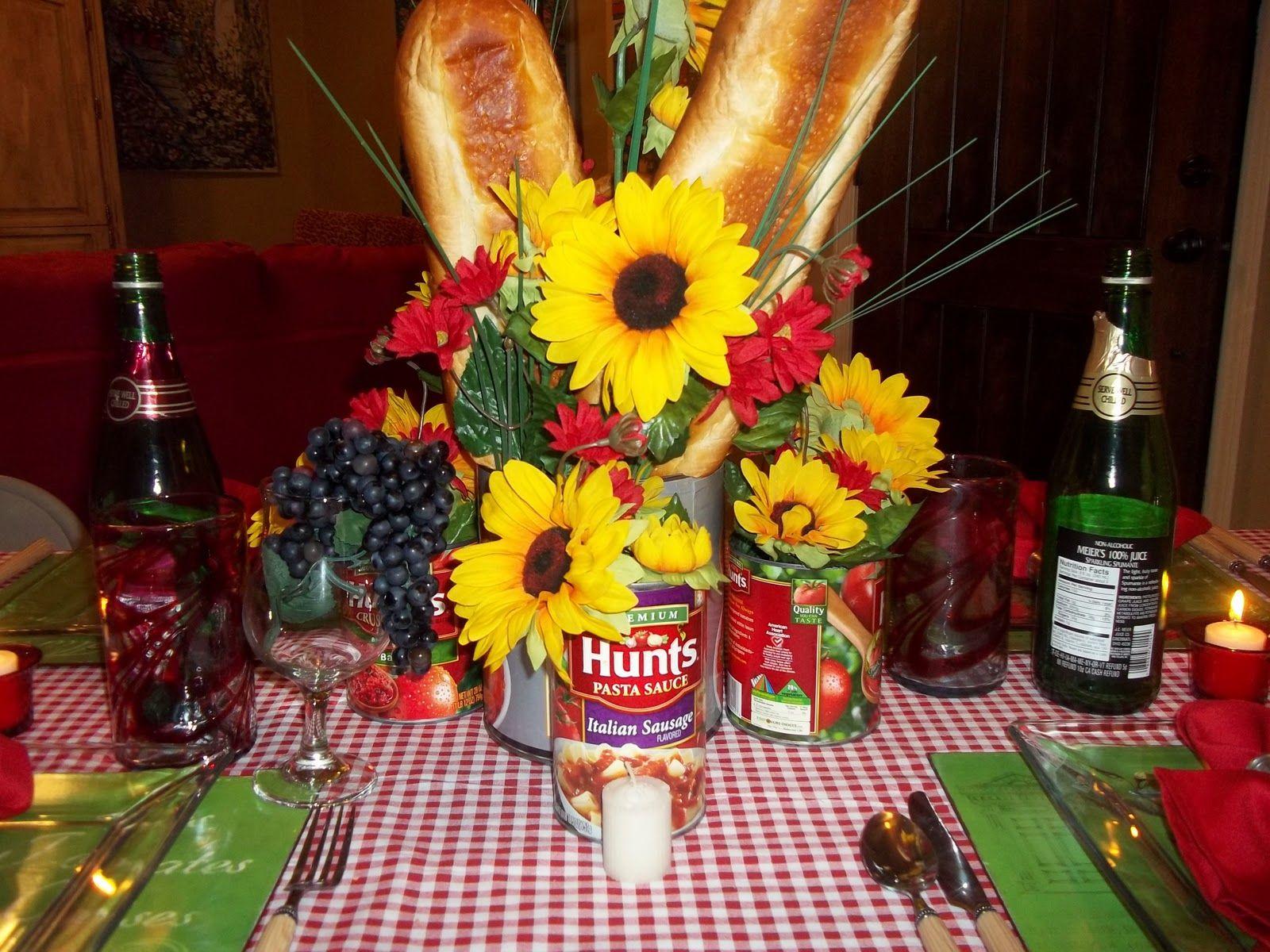 centerpiece for italian dinner party   italian table setting