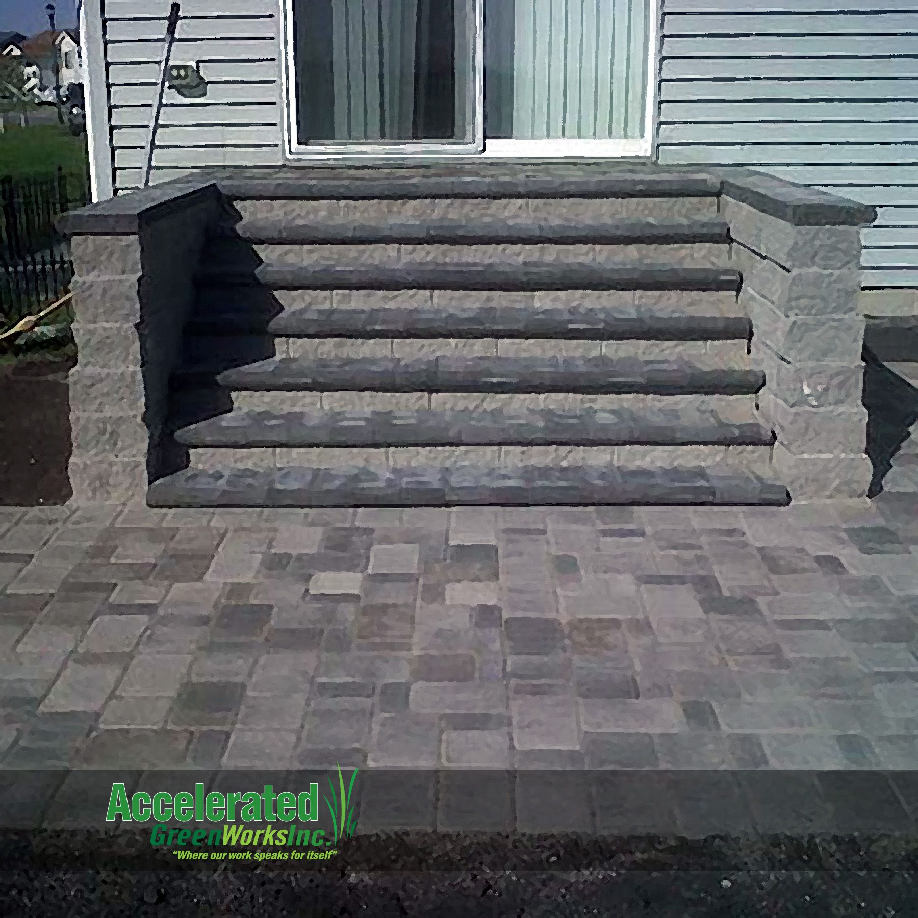 versa lok monumental steps lead from mid level patio door to blend with new - Patio Steps Design