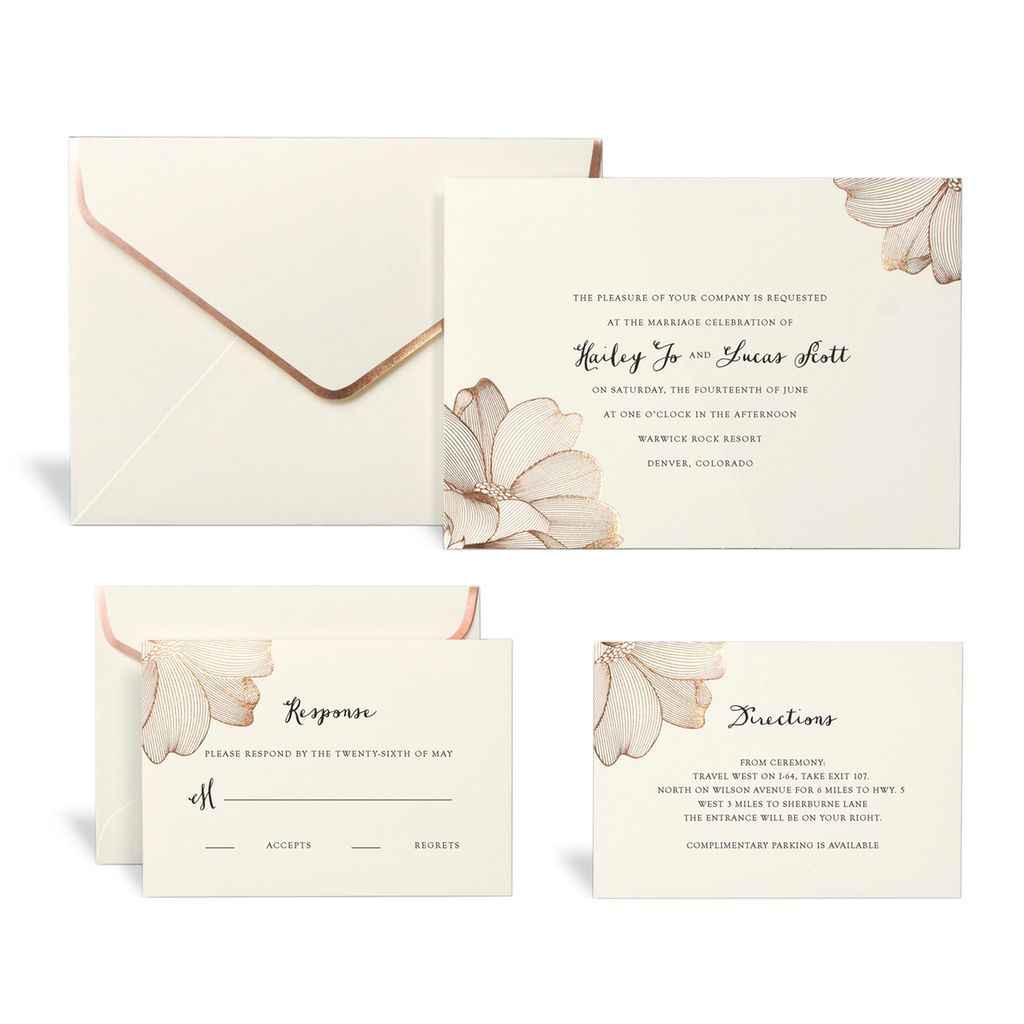 Buy The Rose Gold Floral Wedding Invitation Kit By Celebrate It At