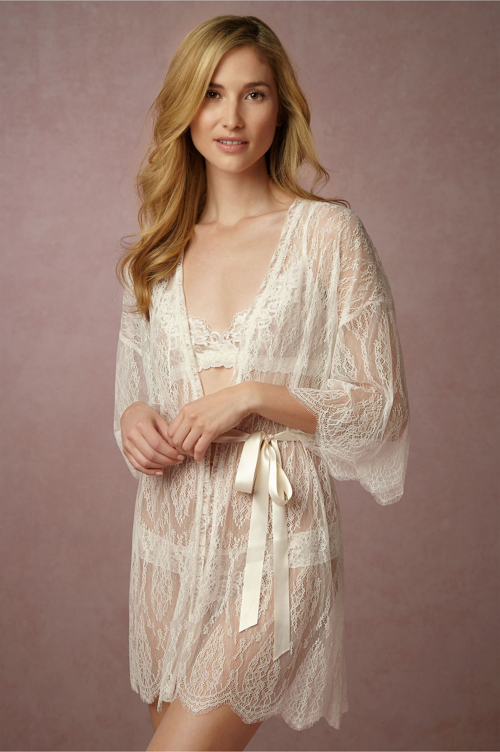 a5197a604 BHLDN Leandra Lace Robe in Bride Bridal Lingerie at BHLDN
