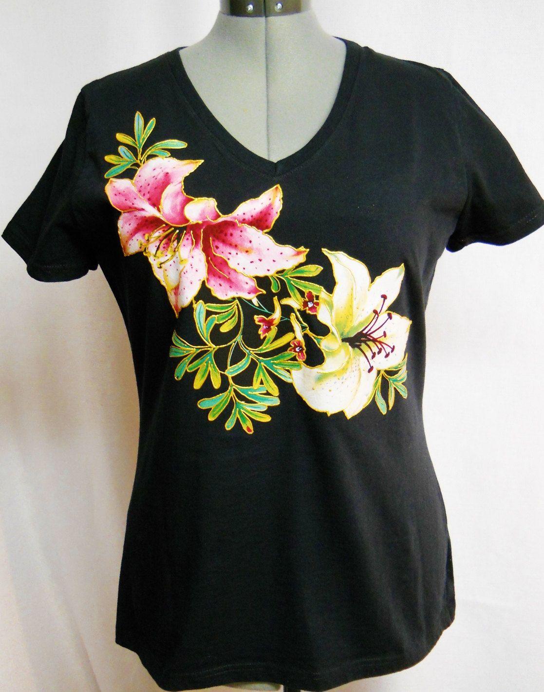 Women S Spring Black Tee Shirt Custom Fl Hand Von Paulag