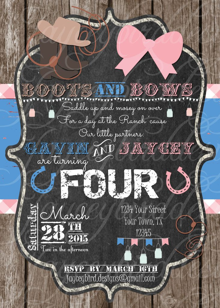 Custom printed boots and bows cowboy and cowgirl birthday invitation custom printed boots and bows cowboy and cowgirl birthday invitation for twins siblings or multiples boots bows pink country cowboy cowgirl birthday filmwisefo