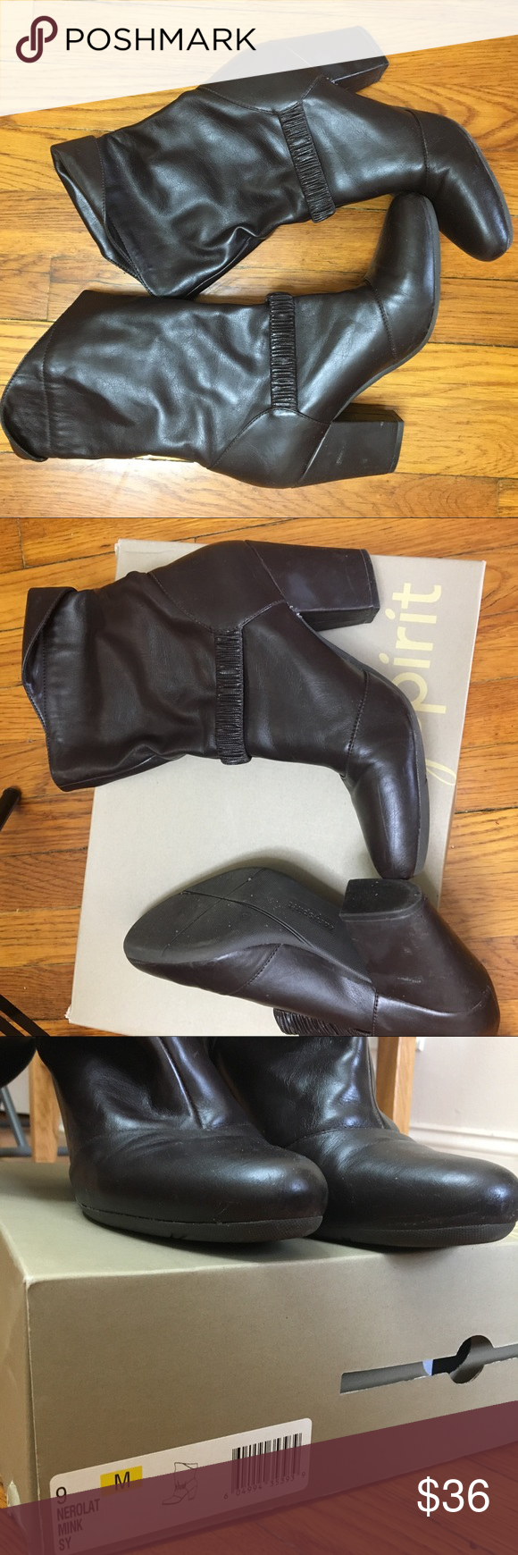 Easy spirit brown boots Worn 56 times. Pet free and smoke