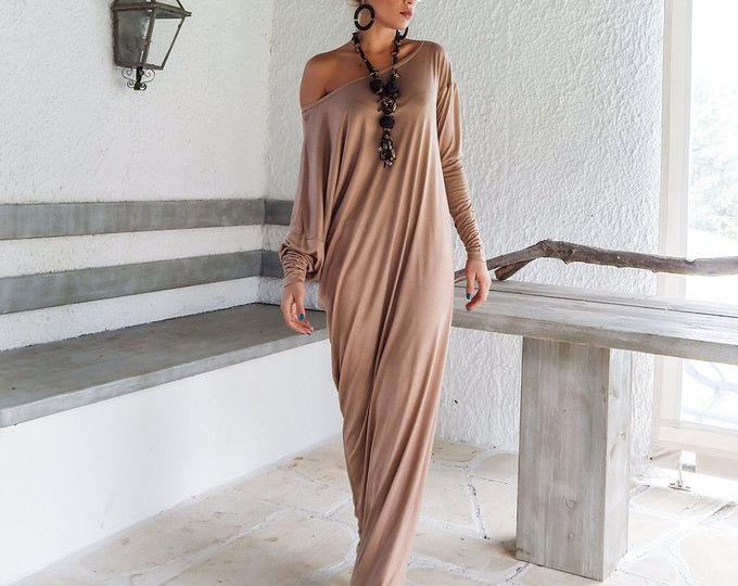 Taupe Maxi Langarm-Kleid   Taupe Kaftan   asymmetrische Plus Größe Kleid    Oversize lose Kleid    35045   Maxi-Kleider   Pinterest   Langarm kleid,  Maxi ... b893301ad0