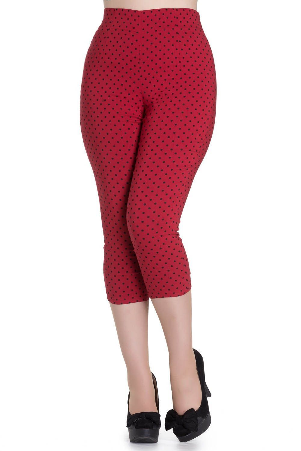 HELL BUNNY 50s KAY CAPRIS cropped POLKA DOT TROUSERS pedal pushers BLACK RED
