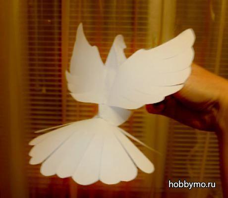 Шаблон и трафарет голубя для вырезания из бумаги распечатать