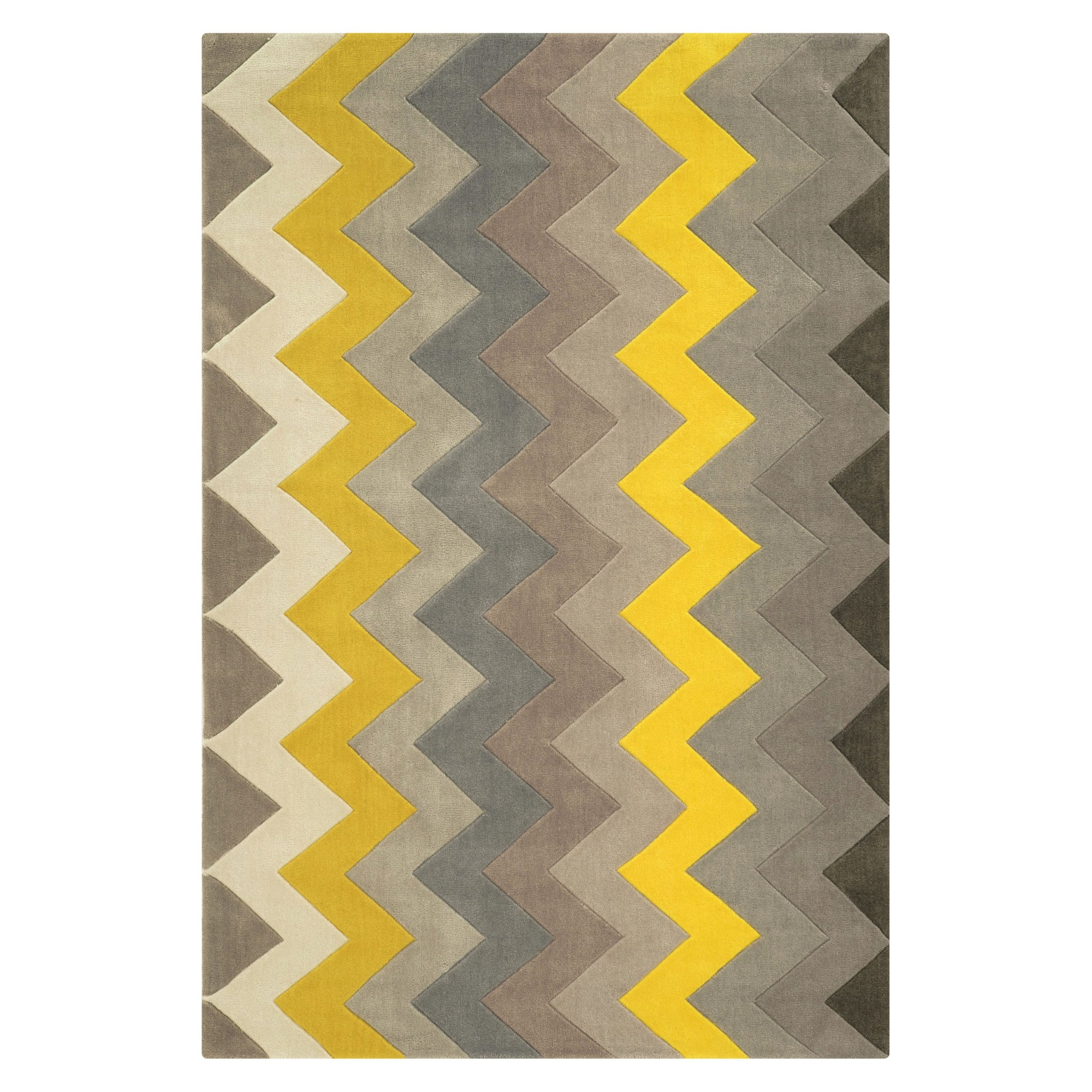 Trio Collection Zigzag Accent Rug Gray Yellow 1 10 X 2 10