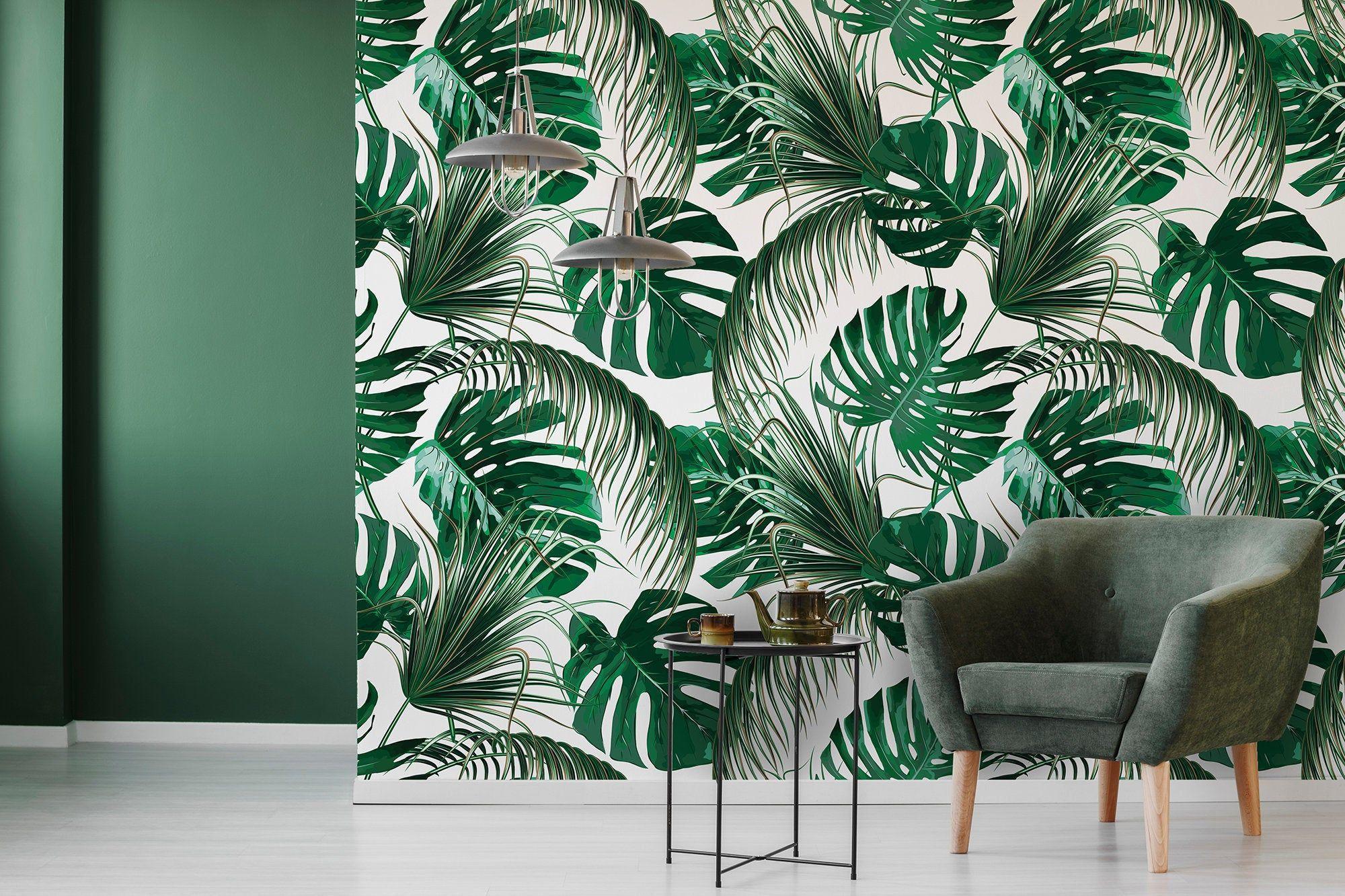 Palm leaves, peel and stick wallpaper, monstera leaf, self