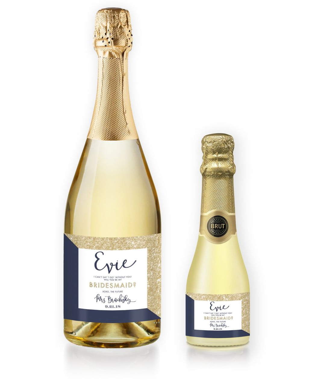 """""""Evie"""" Gold Glitter + Navy Bridesmaid Proposal Champagne"""