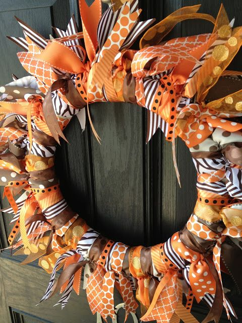 Photo of Fall Ribbon Wreath! :) we could each bring a different print of ribbon and pass …
