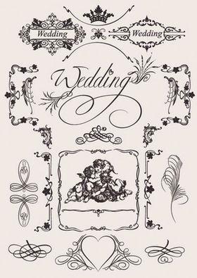 結婚式の手作りペーパーアイテム用枠飾りイラスト素材集招待状席