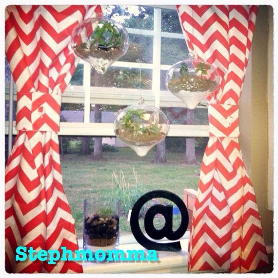 6 Tips To Using Coral In The Kitchen: Happy Coral Chevron Curtains By Stephmomma On Etsy, $50.00