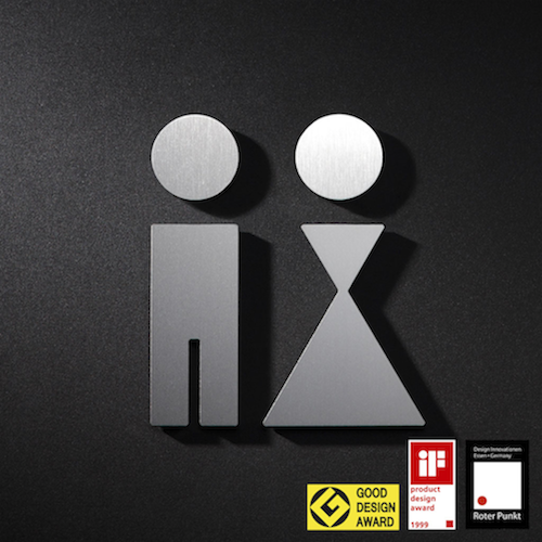 stainless steal mens and womens bathroom signs