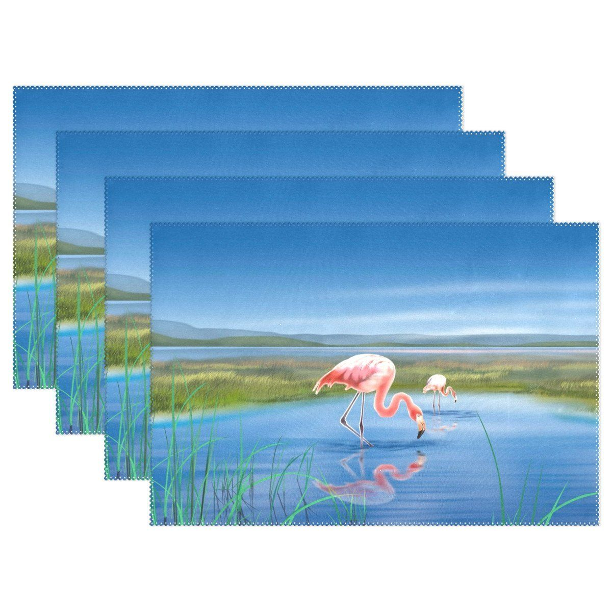 Blue sky lake flamingo 12x18