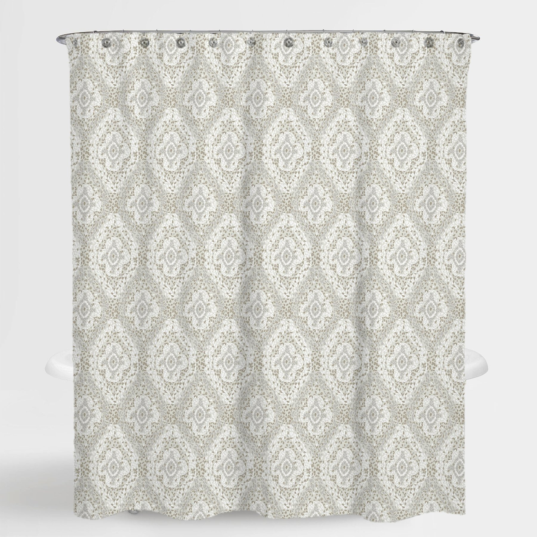 Damask Beige Richmond Water Repellent Shower Curtain 72 X72 Free 12 Piece Sho Fabric Shower Curtains Waffle Weave Shower Curtain Curtains With Rings