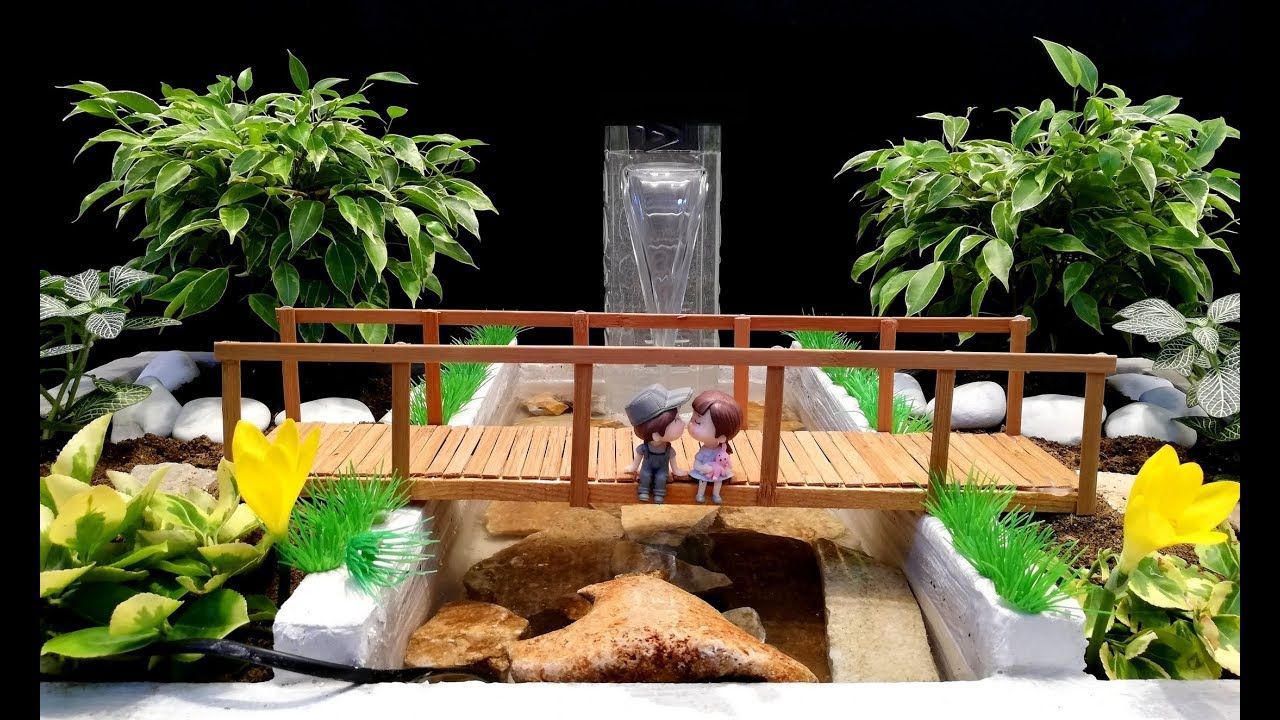 How to make a Fountain with Plastic Bottle in mini Garden
